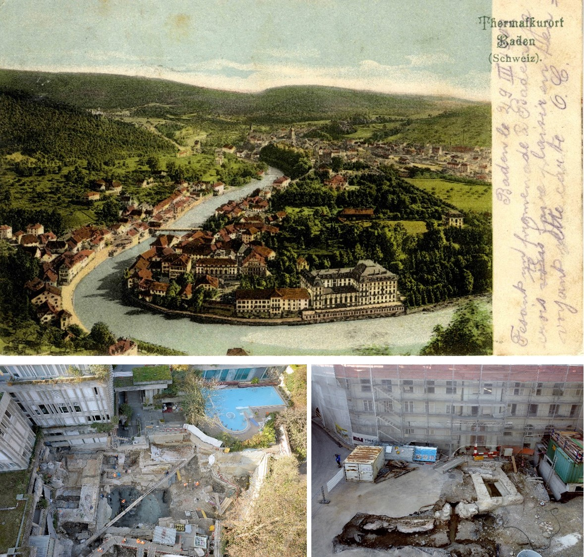 Baden, postcard. Private coll. Andrea Schaer. Some images of Baden archaeological excavations. Photos: Kantonsarchaeologie Aargau/Samuel Muehleisen