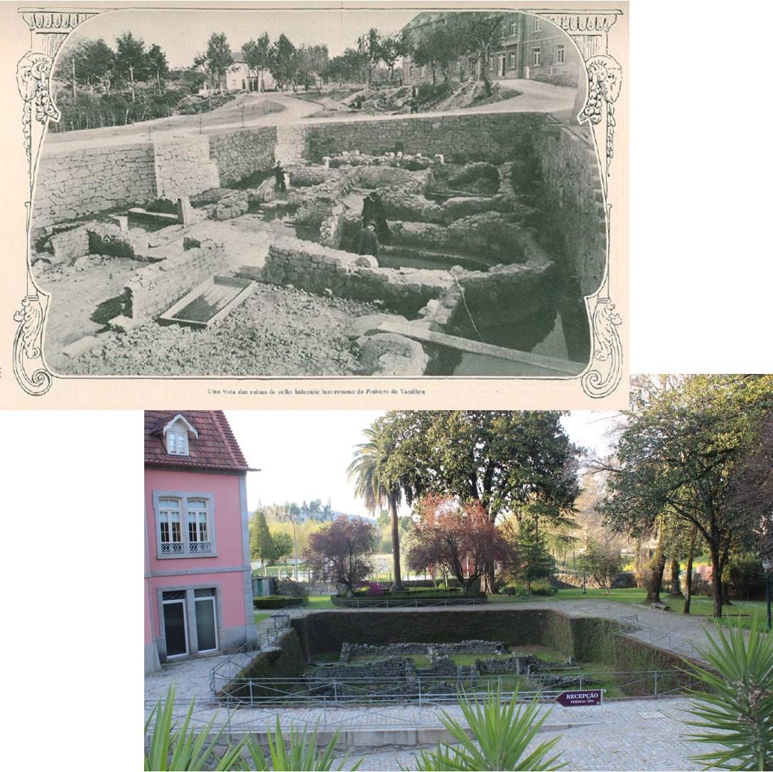 Thermal spa in São Vicente, Penafiel (Portugal). Ancient picture: in Ilustração Portugueza, 1901. Modern picture: S. González Soutelo